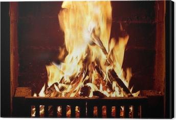 Tableau sur toile Feu brûlant dans la cheminée