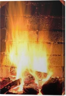 Tableau sur toile Feu dans cheminée