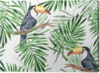 Tableau sur toile Feuilles de palmier et toucan. modèle sans couture aquarelle 4