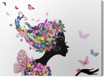 Tableau sur Toile Fille avec des fleurs et des papillons