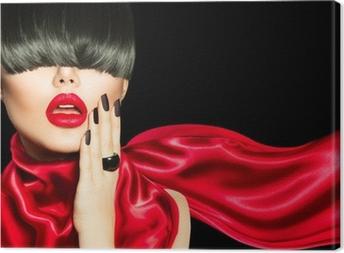 Tableau sur toile Fille de mode élevée avec la mode Coiffure, maquillage et manucure