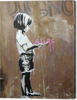 Tableau sur toile Fillette peinte sur hole, Berlin, Germany.