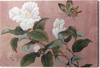 Tableau sur toile Fleur azalée et le papillon
