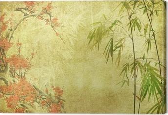 Tableau sur toile Fleur de bambou et prune sur la texture de vieux papier antique