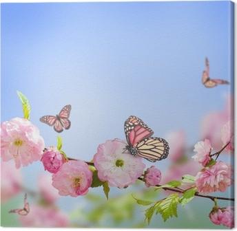 Tableau sur Toile Fleur rose d'une cerise Oriental et le papillon;