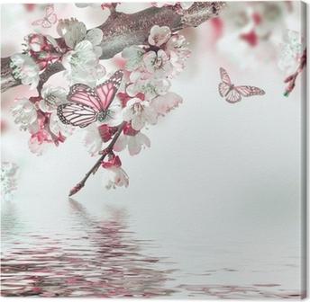 Tableau sur Toile Fleurs d'abricots au printemps, fond floral