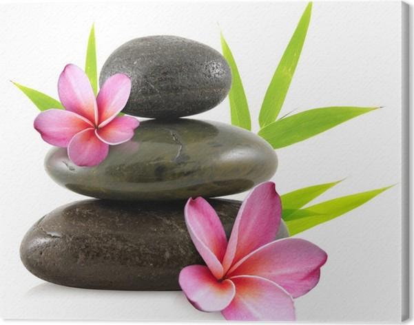 tableau sur toile fleurs de frangipanier et galets zen pixers nous vivons pour changer. Black Bedroom Furniture Sets. Home Design Ideas