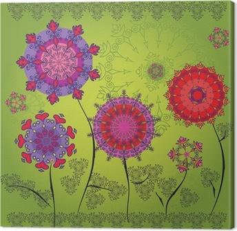 Tableau sur toile Fleurs de mandala de couleur sur un fond vert