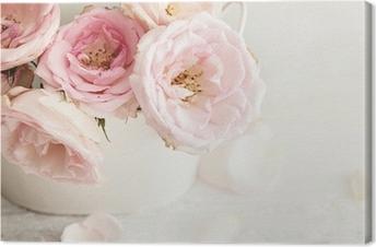 Tableau sur Toile Fleurs roses dans un vase