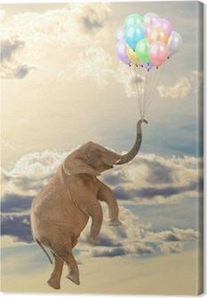 Tableau sur toile Flying Elephant avec le ballon