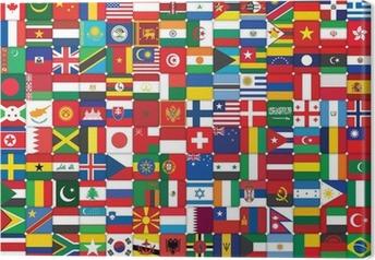 Tableau sur toile Fond fait de drapeaux icônes du monde