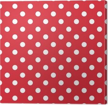 Tableau sur toile Fond rouge rétro seamless vecteur motif pois