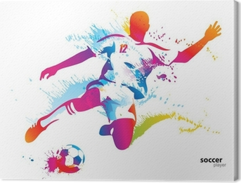 Tableau sur Toile Football joueur botte le ballon. L'illustration vectorielle colorée