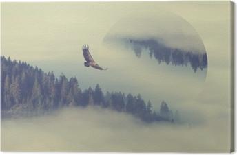 Tableau sur toile Forêt sur la pente de la montagne. effet de reflets géométriques