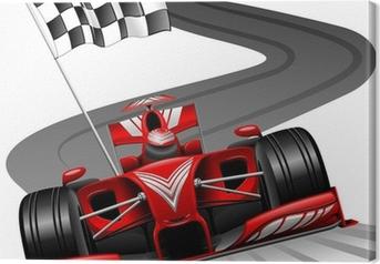 Tableau sur toile Formule 1 voiture rouge sur Race Track