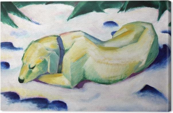 Tableau sur toile Franz Marc - Chien couché dans la neige - Reproductions