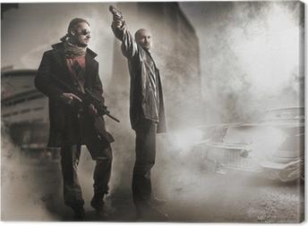 Tableau sur toile Gangsters et élégante vieille voiture
