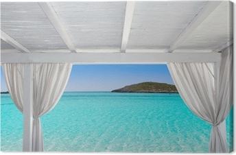 Tableau sur toile Gazebo blanc dans Formentera Ibiza plage