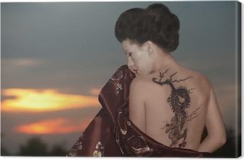 Tableau sur toile Geisha avec tatouage de dragon