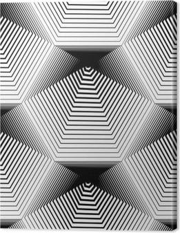 Tableau sur toile Géométrique monochrome stripy seamless, noir et blanc ve