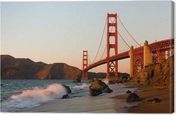 Tableau sur toile Golden Gate Bridge à San Francisco au coucher du soleil