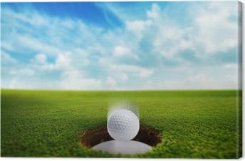 Tableau sur toile Golf Ball tomber dans le trou