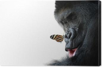 Tableau sur toile Gorille et l'amitié des animaux papillon