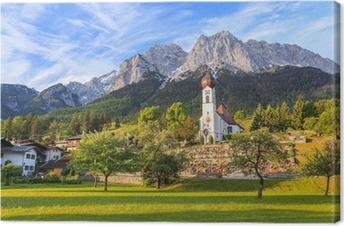 Tableau sur toile Grainau village et Zugspitze dessus de l'Allemagne