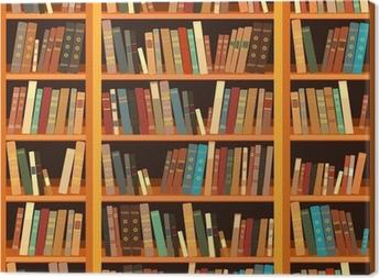 Tableau sur toile Grande bibliothèque avec des livres différents
