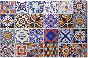 Tableau sur toile Gros plan carreaux de céramique traditionnels de Lisbonne