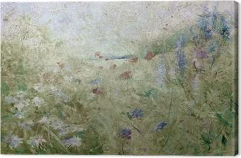 Tableau sur toile Grunge floral prairie d'été