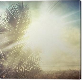 Tableau sur toile Grunge palmier-9