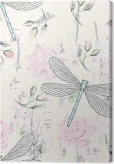 Tableau sur toile Grungy seamless floral avec des libellules