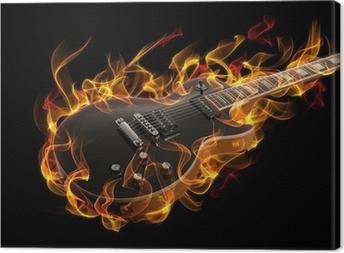 Tableau sur toile Guitare électrique en feu et les flammes