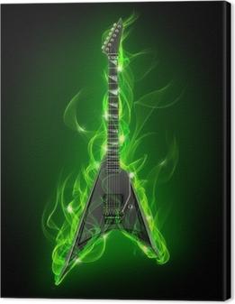 Tableau sur toile Guitare électrique en feu vert et flamme