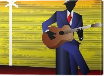 Tableau sur toile Guitariste de blues à la croisée des chemins, vecteur de fond pour un Conce