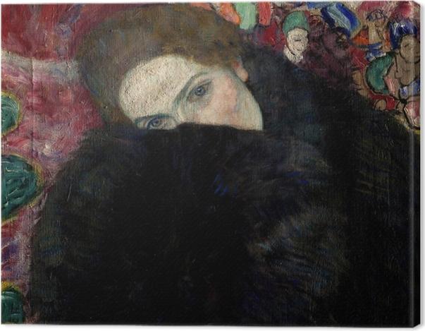 Tableau sur toile Gustav Klimt - Dame avec un chapeau et un manteau - Reproductions