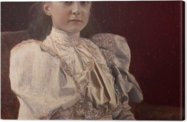 Tableau sur toile Gustav Klimt - Jeune fille assise - Reproductions