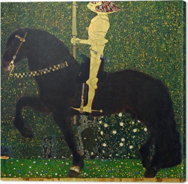Tableau sur toile Gustav Klimt - La vie est une bataille. Le chevalier d'or - Reproductions