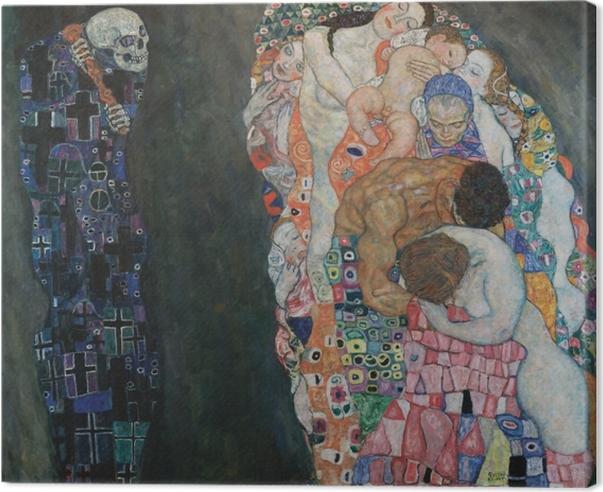 Tableau sur toile Gustav Klimt - La Vie et la Mort - Reproductions
