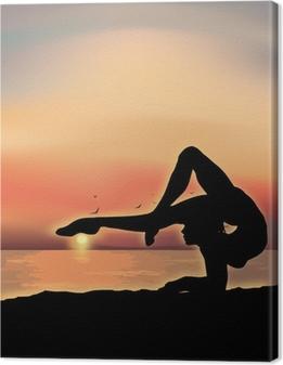 Tableau sur toile Gymnaste exercice près de la mer