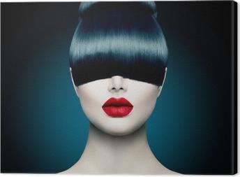Tableau sur toile Haute Portrait Girl Fashion Fringe Modèle avec la mode