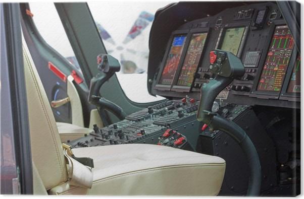Tableau sur toile Hélicoptère cabine avec panneau, à l\'intérieur ...