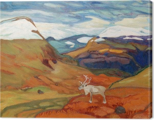 Tableau sur toile Helmer Osslund - Paysage d'automne avec des rennes - Reproductions