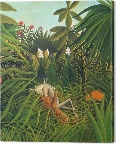 Tableau sur toile Henri Rousseau - Cheval attaqué par un jaguar - Reproductions