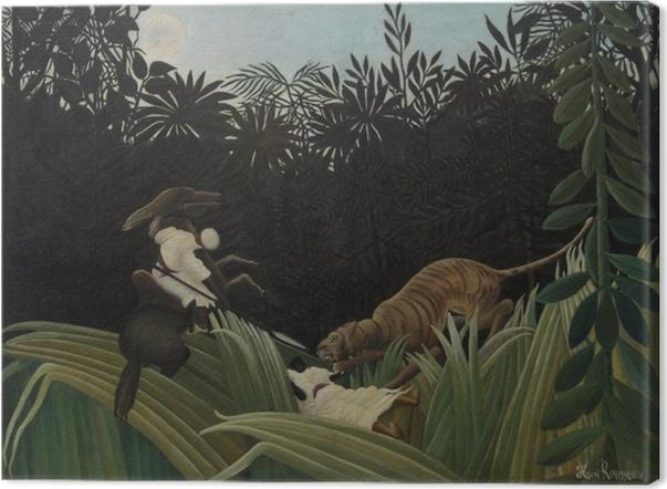 Tableau sur toile Henri Rousseau - Éclaireurs attaqués par un tigre - Reproductions