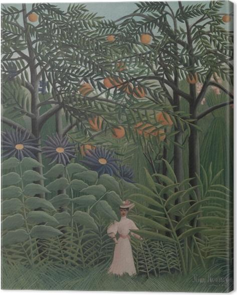 Tableau sur toile Henri Rousseau - Femme se promenant dans une forêt exotique - Reproductions
