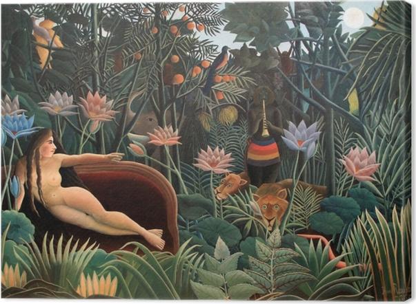 Tableau sur toile Henri Rousseau - L'artiste peignant sa femme - Reproductions