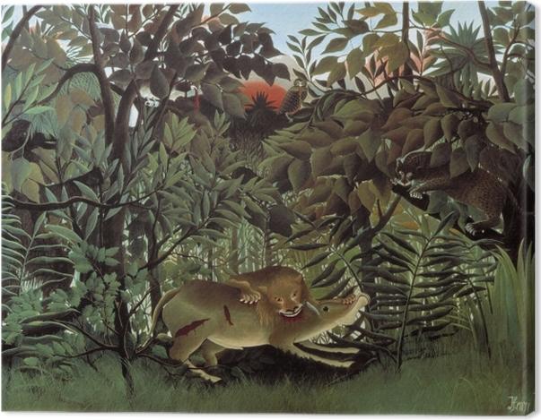 Tableau sur toile Henri Rousseau - Le lion, ayant faim, se jette sur l'antilope - Reproductions
