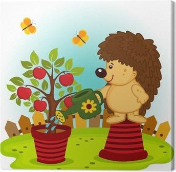 Tableau sur toile Hérisson arroser un arbre avec des pommes - illustration vectorielle